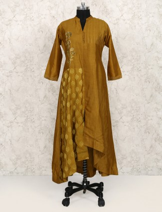 Gold color punjabi suit for party wear