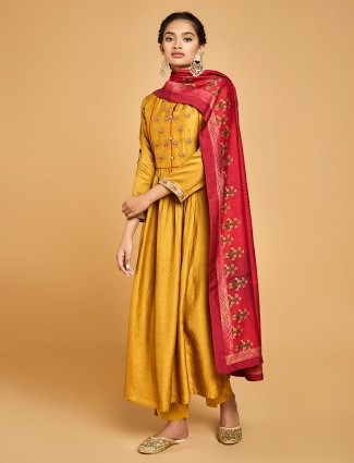 Gold cotton silk printed floor length anarkali salwar suit