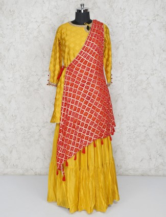 Gold cotton silk round neck salwar suit