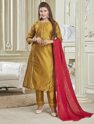 Gold festive wear designer cotton punjabi suit