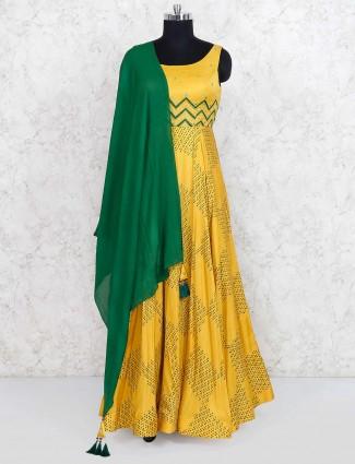 Gold hued cotton silk anarkali suit