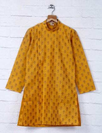 Gold printed pattern cotton kurta suit