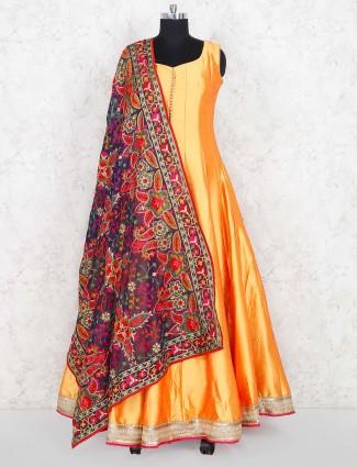 Gold raw silk fabric festive wear anarkali suit