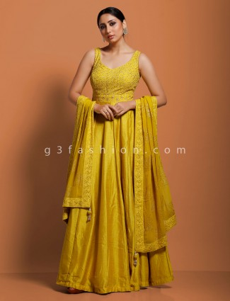 Gold raw silk floor length anarkali suit