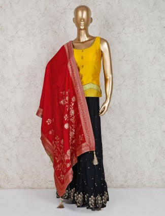 Gold raw silk punjabi palazzo suit