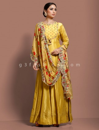 Gold silk floor length anarkali salwar dress