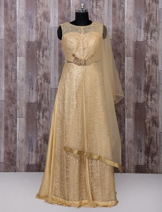 Golden color anarkali suit