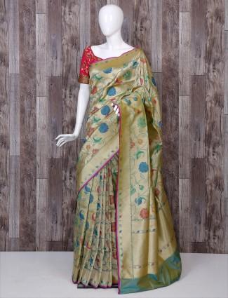 Golden color banarasi silk designer saree