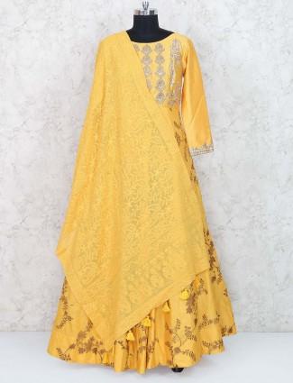 Golden color floor length anarkali suit in cotton silk