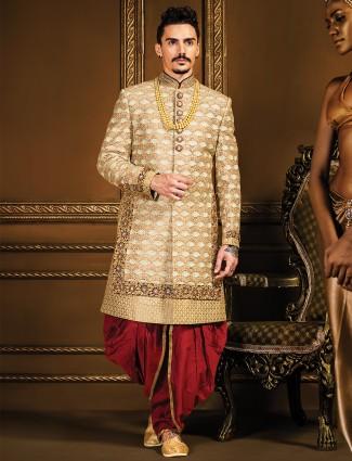 Golden designer silk indo western
