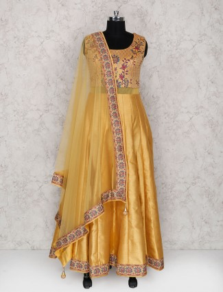Golden festive wear raw silk  anarkali suit