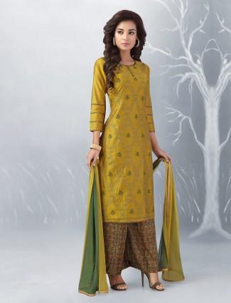 Golden hue cotton punjabi palazzo suit