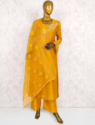 Golden hue cotton silk punjabi salwar suit