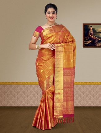 Golden hue pure silk wedding kanjivaram saree
