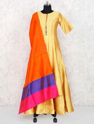 Golden hue raw silk fabric floor length anarkali salwar suit