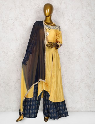 Golden hue raw silk palazzo suit
