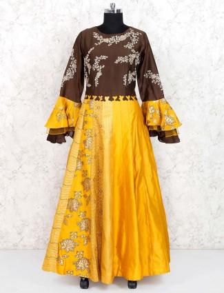 Golden hue silk floor length anarkali salwar suit