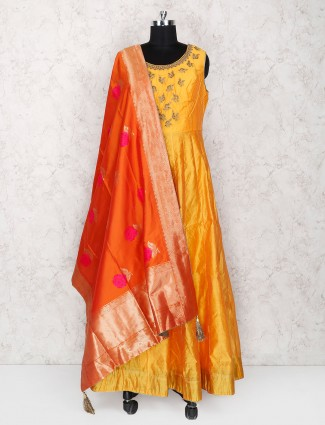 Golden hue silk floor length anarkali suit