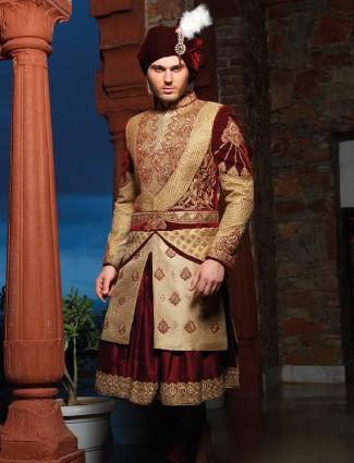 Golden maroon designer attractive wedding wear sherwani