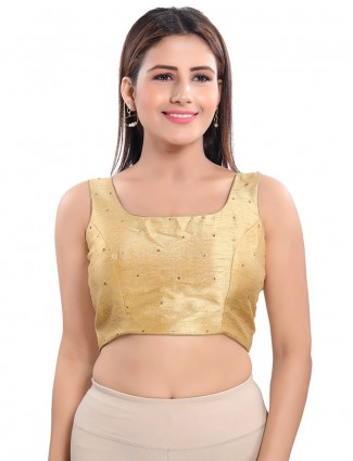 Golden raw silk blouse with sequence detailing