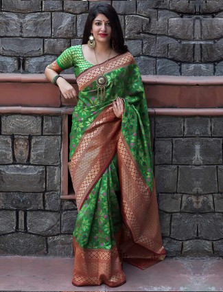 Gorgeous green banarasi patola silk saree