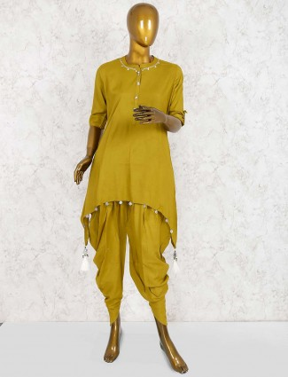 Gorgeous green color festive dhoti suit