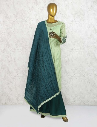 Gorgeous green cotton silk festive punjabi palazzo set