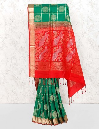 Gorgeous green pure silk fabric saree