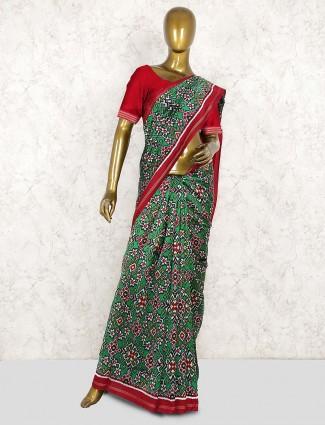 Gorgeous green saree in patola silk fabric