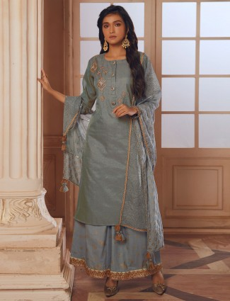 Gorgeous grey cotton silk palazzo suit