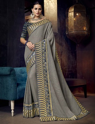 Gorgeous grey hue satin fabric wedding saree