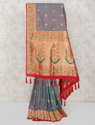 Gorgeous grey semi silk fabric saree