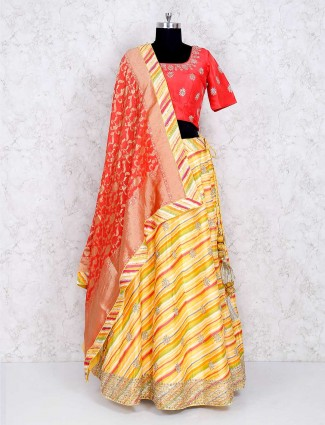Gorgeous yellow silk lehenga choli