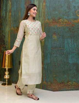 Gota work festive wear beige pant suit