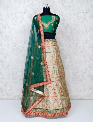 Green and beige raw silk classic semi stitched lehenga choli