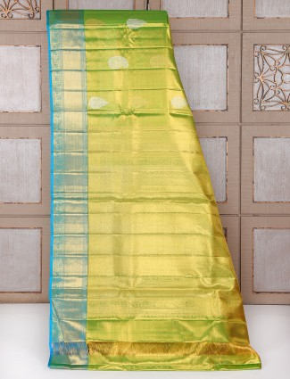 Green and blue kanchipuram pattu bridal saree