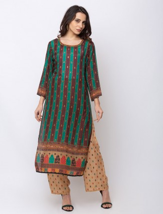 Green and brown stripe cotton palazzo suit
