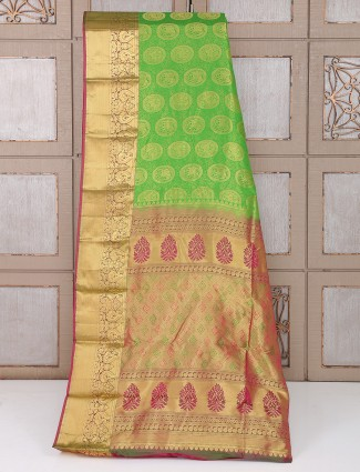 Green and golden color silk saree