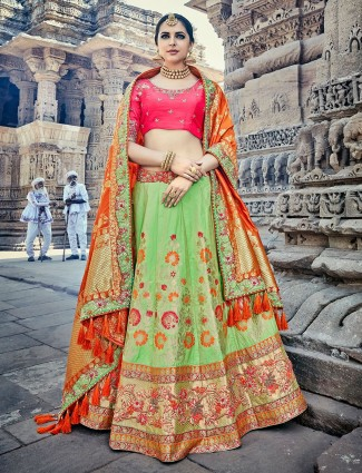 Green and magenta silk unstitched lehenga choli