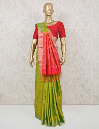 Green and magenta south silk saree