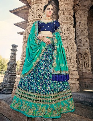 Green and navy silk unstitched lehenga choli