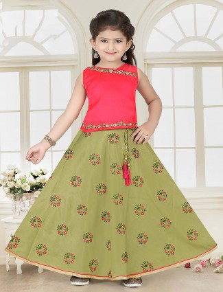Green and pink cotton silk lehenga choli