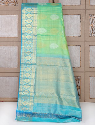 Green and sky blue kanchipuram pattu silk saree