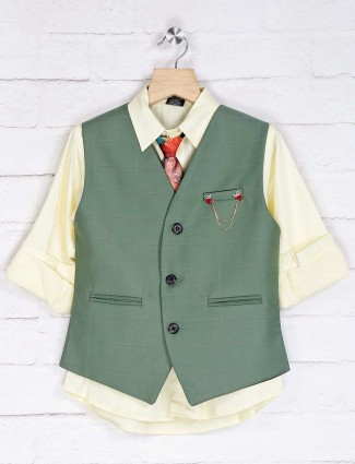 Green and yellow cotton silk waistcoat set