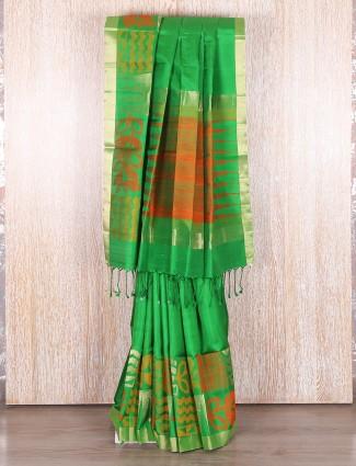 Green attractive bangalore silk wedding wear saree