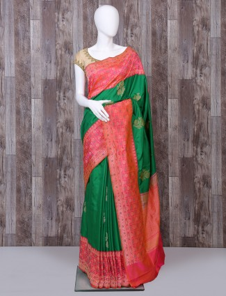 Green pure banarasi silk saree for bridal