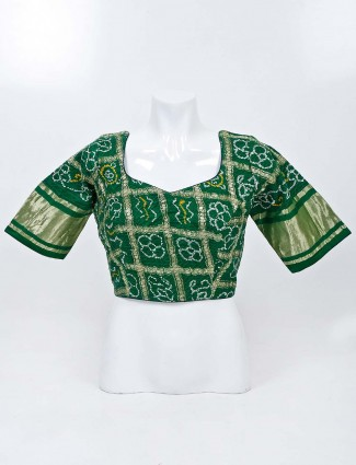 Green bandhej readymade blouse with sweetheart neckline