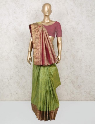 Green beautiful saree for wedding function