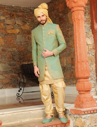 Green beige silk wedding wear indo western