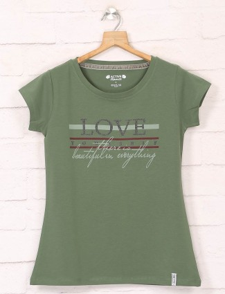 Green casual wear cotton tshirts